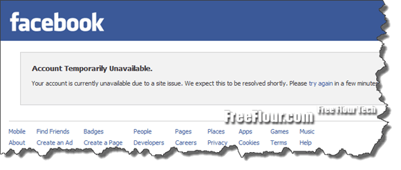 Facebook Account Temporary Unavailable Due to Site Issue