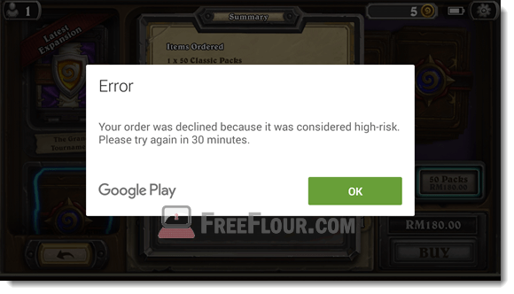 Your order was declined because it was considered high-risk clash of clans Hearthstone