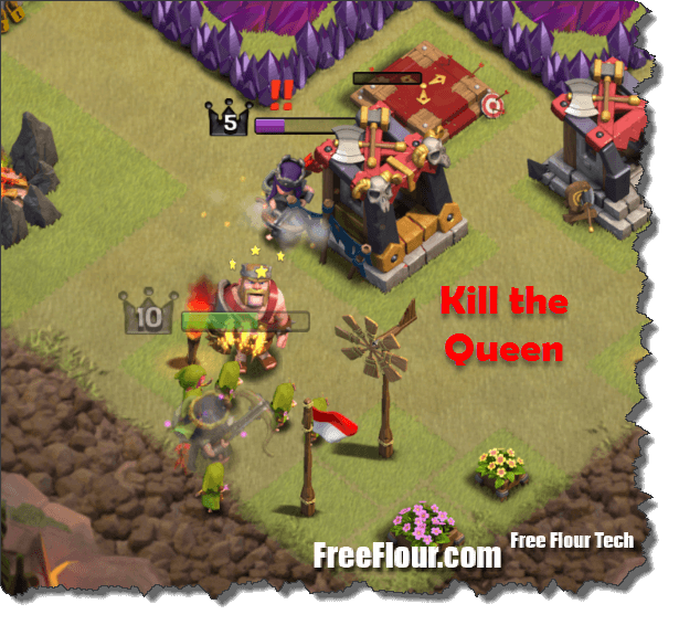 clash of clans how to kill queen