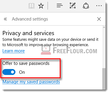 disable turn off remember passwords in microsoft edge