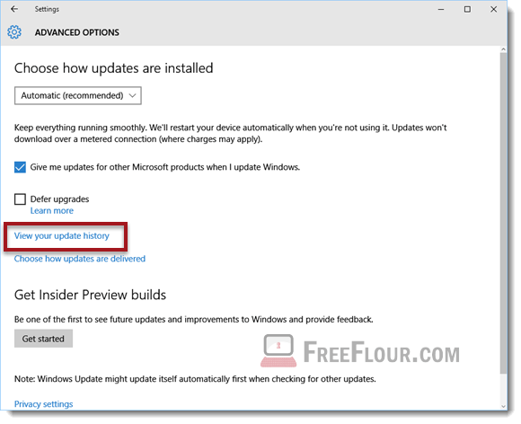 how to check update history windows 10