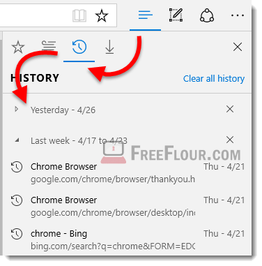how to view browsing history in microsoft edge