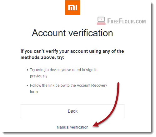mi account verification code manual