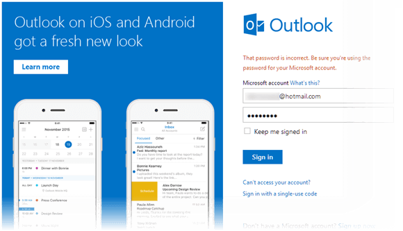 outlook sign in page hotmail microsoft account email login help