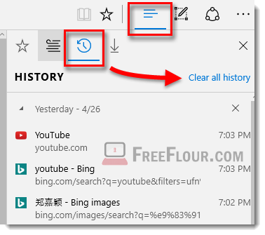 remove clear all browsing history in microsoft edge